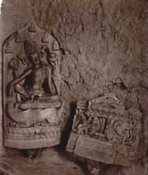 Statue of Avalokiteshvara with inscription on pedestal, and inscribed base of another Buddhist statue, Hasanpur, Monghyr (Munger) District